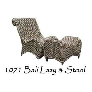 Bali Wicker Lazy Chair and Stool