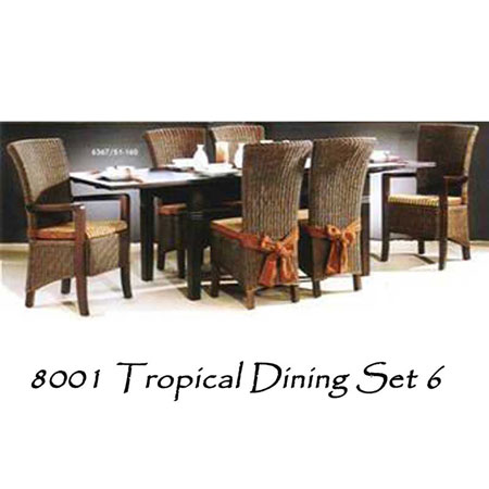 Tropical Wicker Dining Set 6