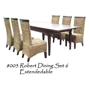 Robert Wicker Dining Set 6 Extendedable
