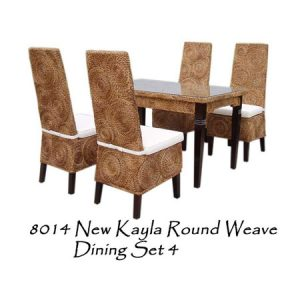 New Kayla Round Weave Dining Set 4