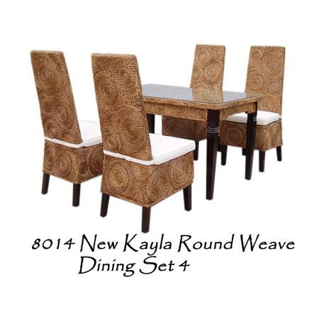 New Kayla Round Weave Dining Set 4