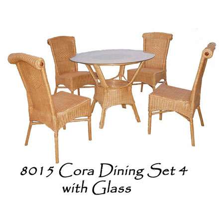 Cora Rattan Dining Set with Glass