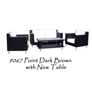 Point Rattan Living Set Brown