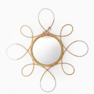 Finian Rattan Mirror in White