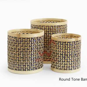 Round Tone Set of 3 Bamboo Basket