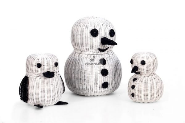 Penguin Figurine Rattan Basket
