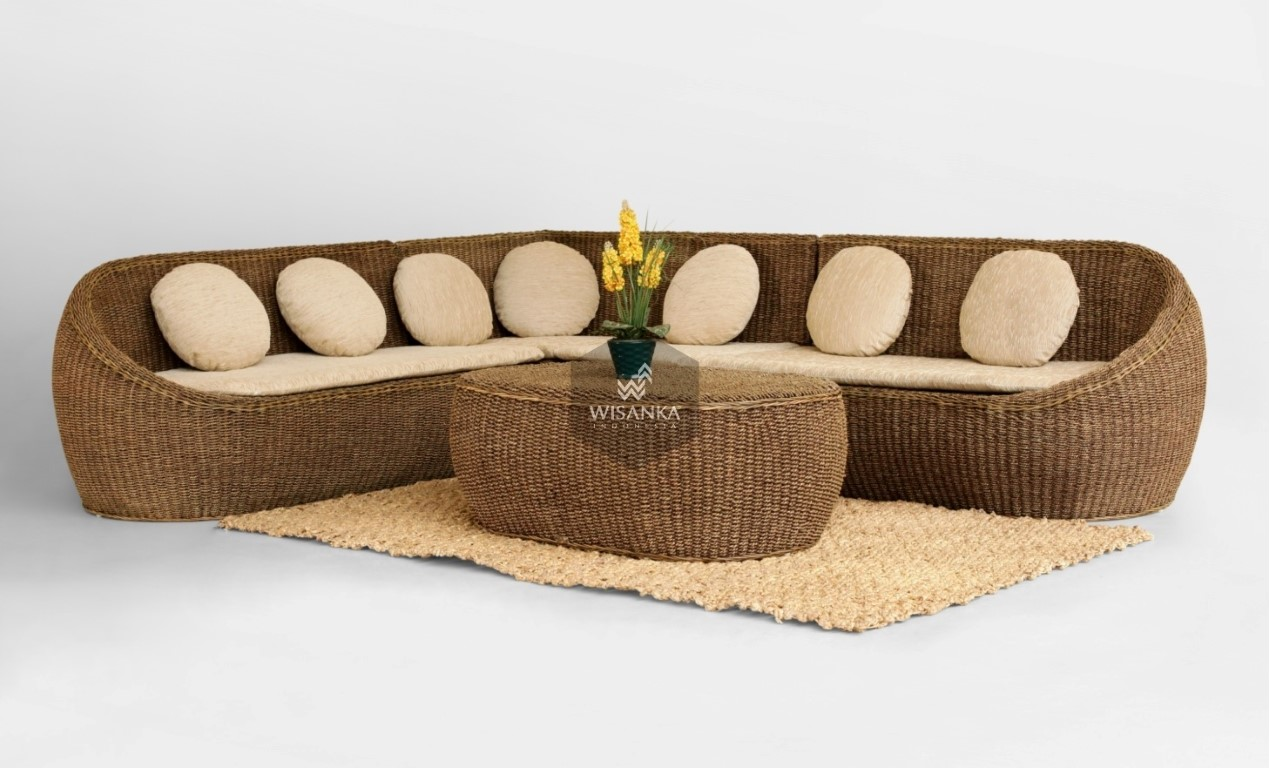 Egg Wicker Sofa Set Indonesia Rattan