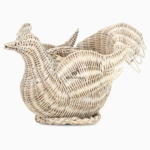 Chick Figurine Rattan Basket Accessories