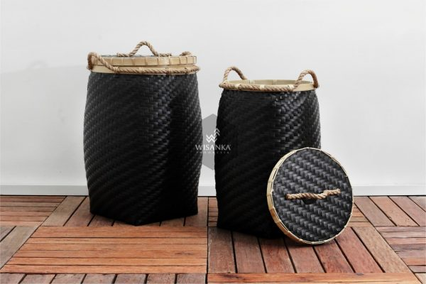 Round Belly Bamboo Laundry Strap Basket