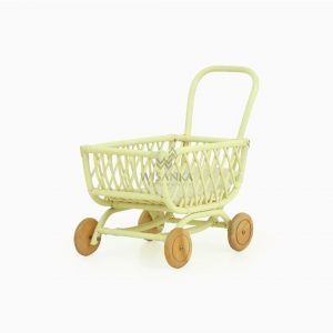 Rossy Rattan Doll Pram Lime Yellow